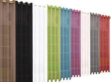 2 Stück Ösen Gardinen uni transparent Voile Vorhänge Bleiband Moderne Farben