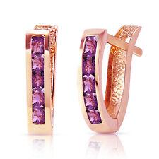 0.85 CTW 14K Solid Rose Gold Oval Huggie Earrings Purple Amethyst