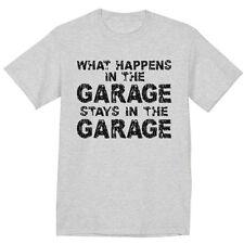 What happens in the garage funny biker mechanic gift design tee shirt men's