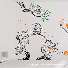 Hadas y unicornios Mural COMPLETO INFANTIL alienígena Cuarto De Bebé Pegatina