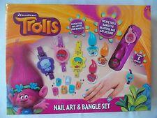 TROLLS - Nail Art & Bangle Set / Ring & Nail Art Set - Stickers Nail Polish Gems
