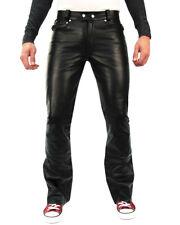 Bockle® 1970 Bootcut Herren Lederhose Leder Jeans neu schwarz mit weitem Schlag