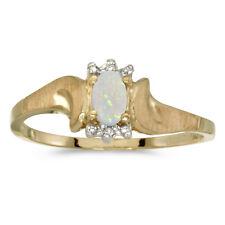14k Yellow Gold Oval Opal And Diamond Satin Finish Ring