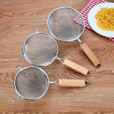 Acero Inoxidable Malla Alambre tamiz con madera Manija Cocina Colador NUEVO