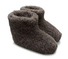 Hüttenschuhe, Hausschuhe, Stiefel aus reiner Schafwolle, Schurwolle, Leder Sohle