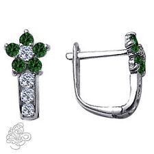 Birthstone Gemstone Flower Huggie Earrings In Sterling Silver 925