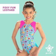 Nwt Gk Stars Gk Elite Pink Blue Fox Hearts Stars Gymnastics Leotard Child Sizes
