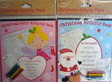 Libro de actividad de Navidad Fantasía o Santa & Lápices de Colores (coloración, búsqueda de palabras, etc.)