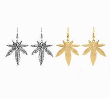 1 Pair Silver/Gold Tone Ganja Cannabis Marijuana Pot Leaf Charm Hook Earrings