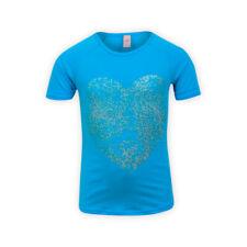 Girls Short Sleeve Cotton T-shirt Crew Neck Glitter Heart Kids Top Tee Shirt