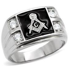 Lucia Stainless Steel 4-Stone Masonic Men's Ring AAA Top grade CZ (HI POLISH)