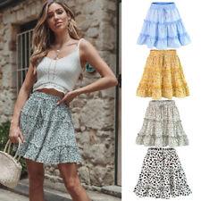 Womens High Waist Frills Mini Skirt Floral Printes Beach A-line Short Skirts