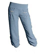 NEW Ladies ITALIAN Cropped LAGENLOOK 3/4 LINEN Capri BUTTON Plus Size Trousers