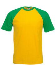 Fruit of the Loom Béisbol Camiseta, de color en contraste T en 7 Colores