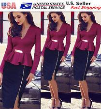 Womens Elegant Peplum  Long Sleeve Business Casual Party Sheath Slim Dress 026b