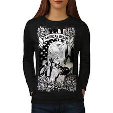 American Eagle Biker USA Women Long Sleeve T-shirt NEW | Wellcoda