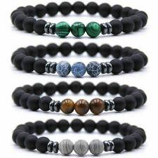 Mens Black Tourmaline Matte Agate Stone Protection Yoga Beaded Stretch Bracelet