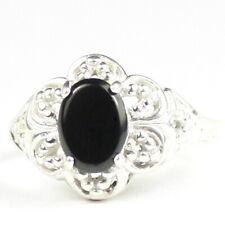 • SR125, Black Onyx, Sterling Silver Ladies Ring -Handmade
