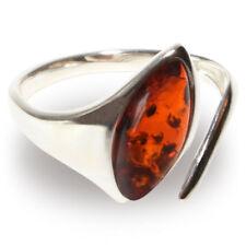 925 Sterling Silber Ring mit echtem baltischen Marquise-Schliff Bernstein Damen