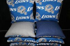 8 All Weather CORNHOLE BEANBAGS made w DETROIT LIONS Cornhole Bean Bags Fabric