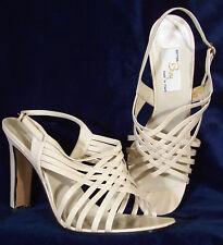 Nib! Boy Beige Strappy Leather Sandal Heels 39.5 8.5