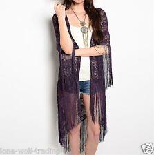 """""""Purple"""" Boho Gypsy Lace Fringe Kimono-K-CN226459"""