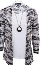 à manches longues pour femmes tricot extensible effet grande taille 2 en 1 gilet