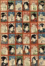 100 Ancestors 15x22 Japanese Print by Kunisada Asian Art Japan Warrior sushi