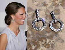 Kate Middleton Round Circle Earrings Diamond Sparkle Given by Princess Diana