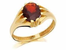 F. Hinds Mens Gents Jewellery 9ct Yellow Gold Gentleman's Garnet Gipsy Ring