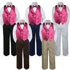 4pc Boy Baby Toddler Kid Burgundy Vest Bow Tie Formal Pants Set Suit sz S-7