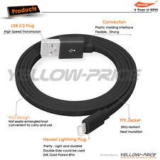1M Apple MFI Lightning USB Data Cable, iPhone iPad Fashion Flat Noodle Black