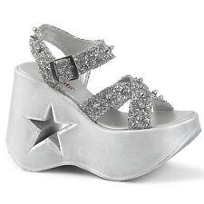 Pleaser Demonia Dynamite 02 Silver Glitter Star Cutout Platform Wedge Sandals