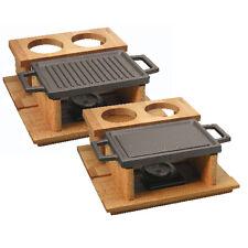 Paderno Lava Barbecue da tavola ghisa smaltata con supporto legno