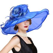 "6.7"" Organza Womens Kentucky Derby Wedding Church Wide Brim Dress Sun Hat A416"