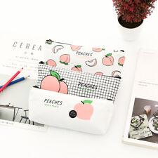 1pc Cute Peach Makeup Bag Pencil Case Canvas Stationery Bag Pouch School Gift