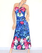 ABITO LUNGO donna MAXI VESTITO elegante blu floreale estivo da sera vestido 85C