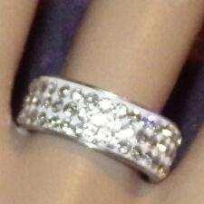 New Silver Rings Titanium Steel Band Rhinestone Crystal Men's Women's Statement