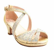 New Girls Youth Cute Pageant Jewel Rhine Stone Mary Jane High Heel Dress Shoes
