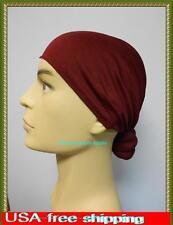 burgundy man Cancer skull scull Cap  Chemo Alopecia Turban Head Wrap  warmer hat