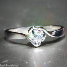 Wedding Engagement 925 Silver White Sapphire Birthstone CUT Loving Gift Ring