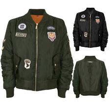 Ladies Badge Padded Lined Zip Up Satin Biker Stylish Vintage Bomber Jacket