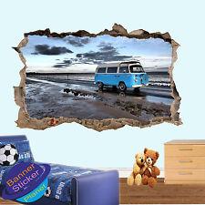 Camper Van Seaside Road 3D Smashed Autocollant Mural Art Chambre Décoration Autocollant Murale ZX7