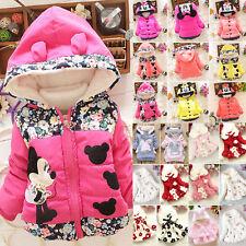 Kids Girls Winter Minnie Warm Floral Coats Jacket Fur Hoodies Outerwear Hooded