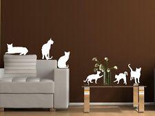 Set di 6 GRAZIOSI curioso gatti ADESIVI da Parete. 30cm altezza o larghezza di Alta Qualità Nuovo