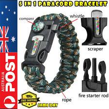Outdoor Survival Bracelet Paracord Whistle Gear Flint Fire Starter Scraper Kits