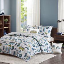 Cars, Buses & Trucks Reversible Cotton Coverlet Quilt Set AND Decorative Pillow
