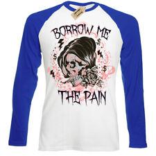 Borrow me the pain T-Shirt emo skull Mens Baseball T-Shirt