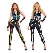 Adult Ladies Leather Look Sexy Skeleton Bone Catsuit Jumpsuit Halloween Costume