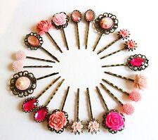 Hair Pins Grips Clips Slides Vintage Accessories Flower Rhinestone Rose Pink Gem